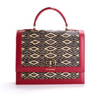 Red Water Sedge and Leather Wicker Handbag with Black Dimonds