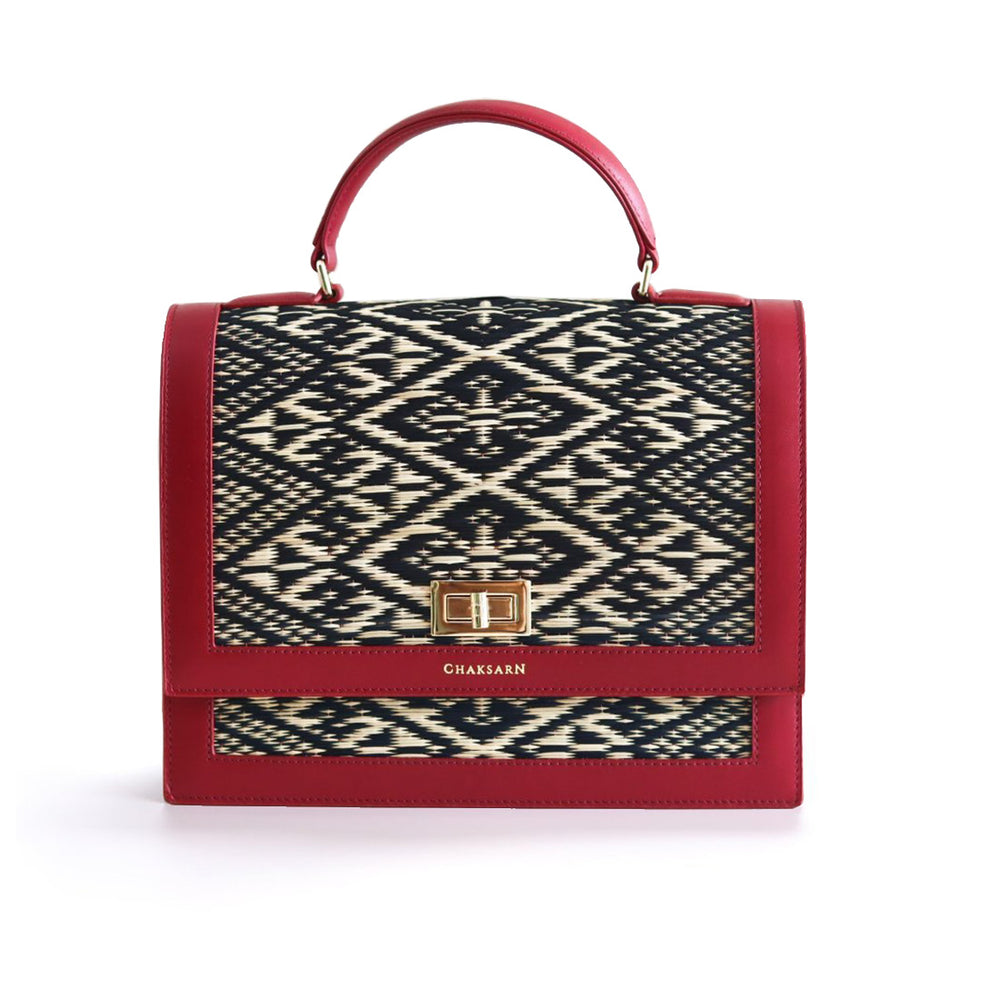Red Water Sedge and Leather Wicker Handbag with Black Khit