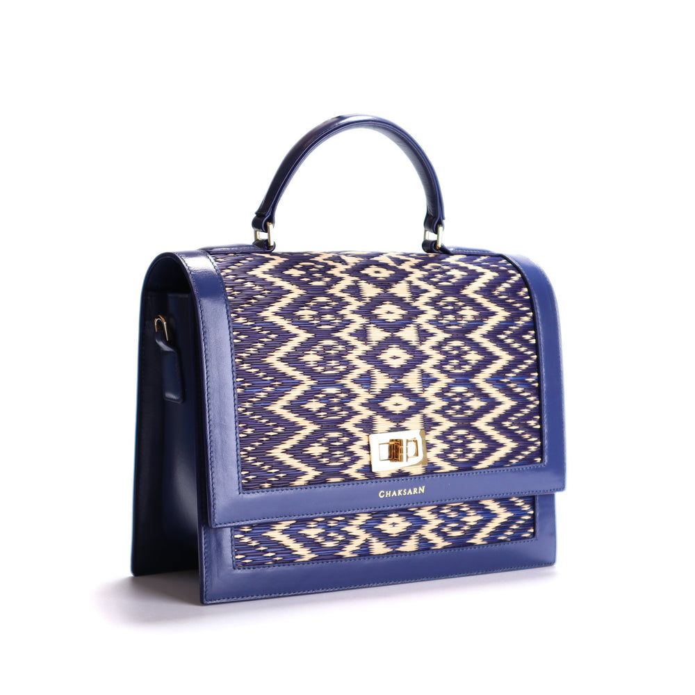 Blue Water Sedge and Leather Wicker Handbag with Hearts