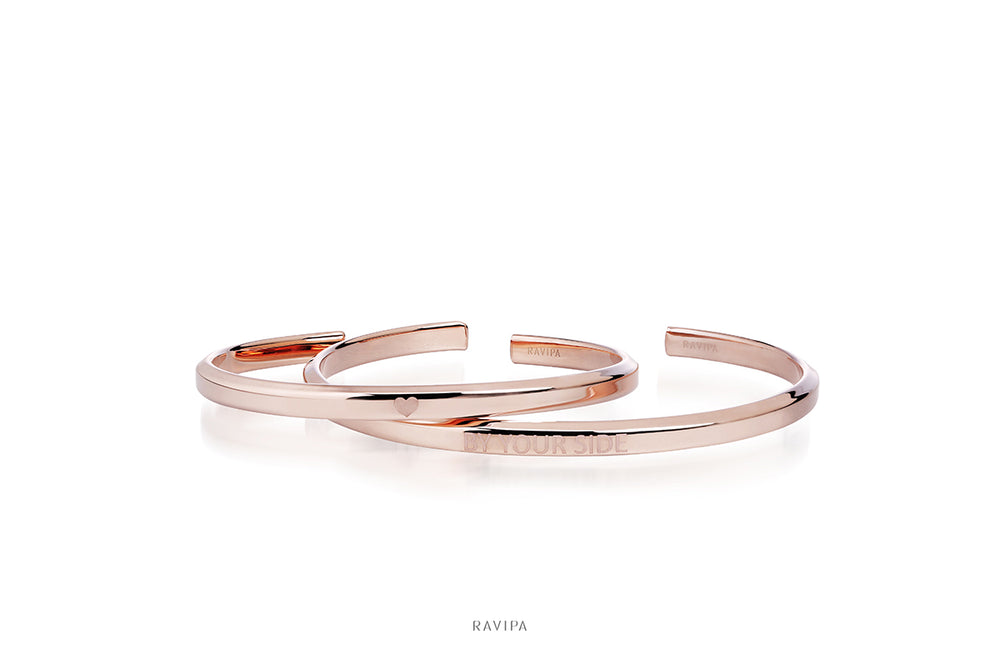 Pink Gold Plated Cuff Bracelet Bangle