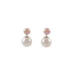 Double Pink Gold Pearl Earrings