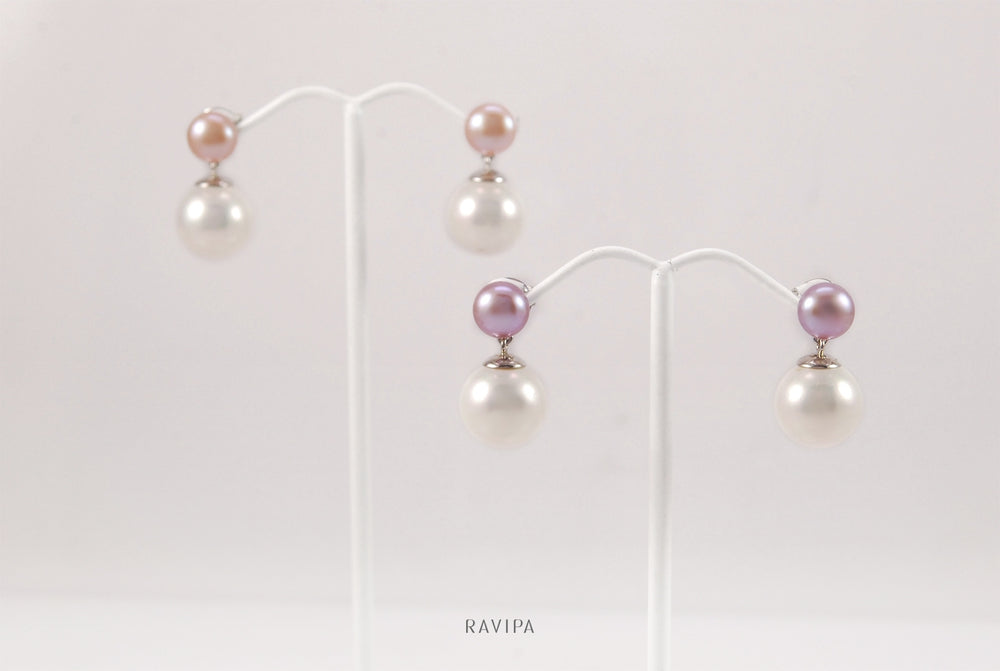 Double Lavender Pearl Earrings