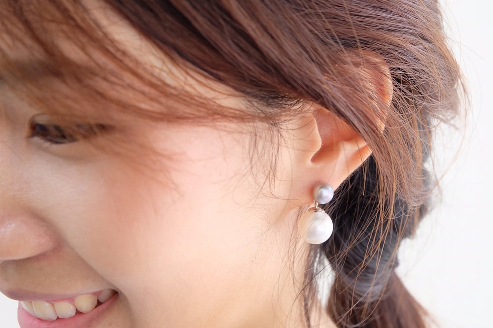 Double Little Grey Pearl Earrings