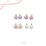 Diamond Pink Gold Pearl Earrings