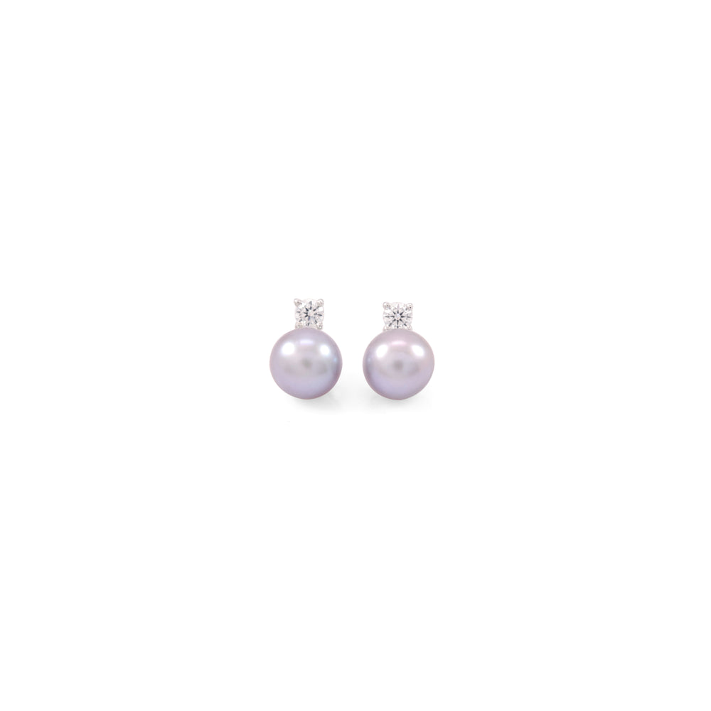 Diamond Lavender Pearl Earrings