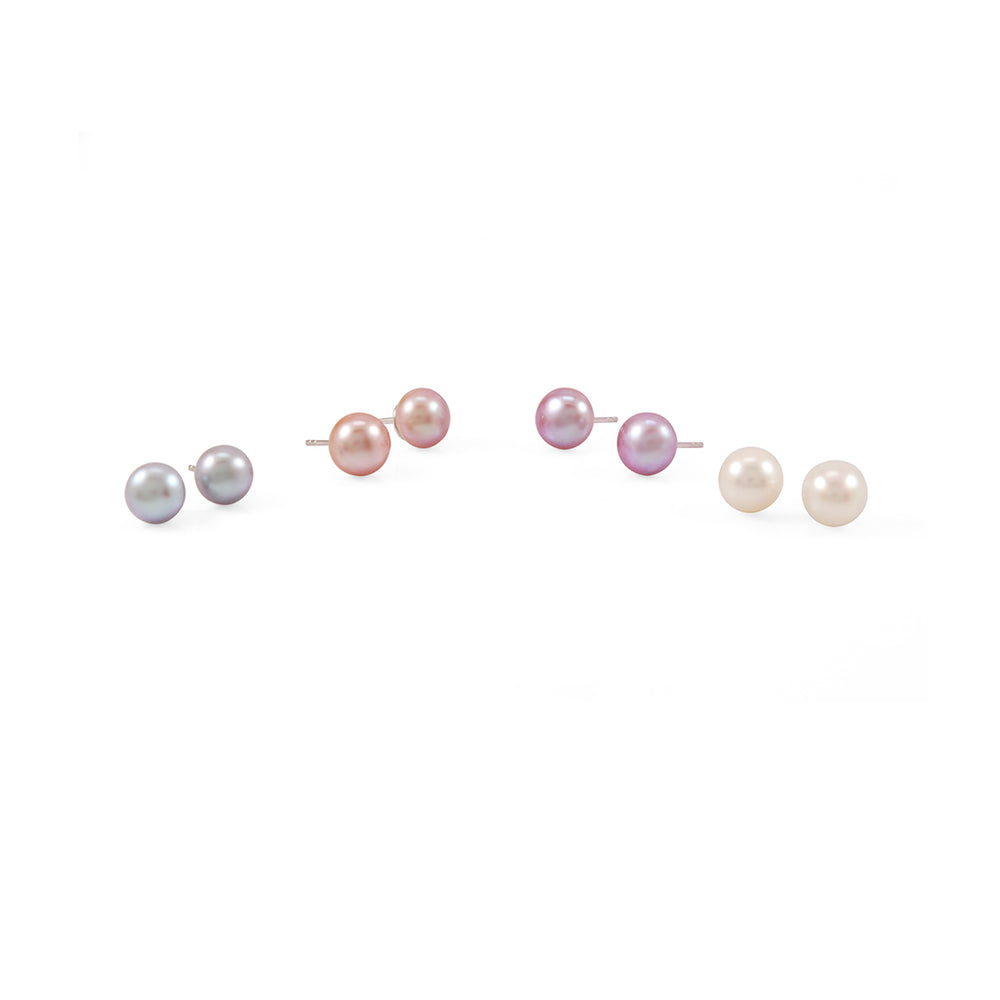 Single Pink Gold Pearl Stud Earrings