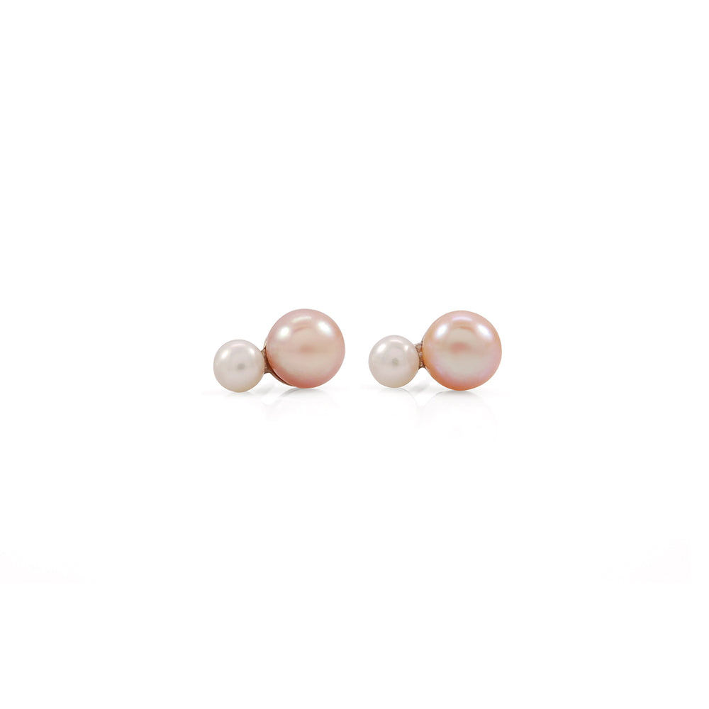 Mini Double Pink Gold Pearl Earrings