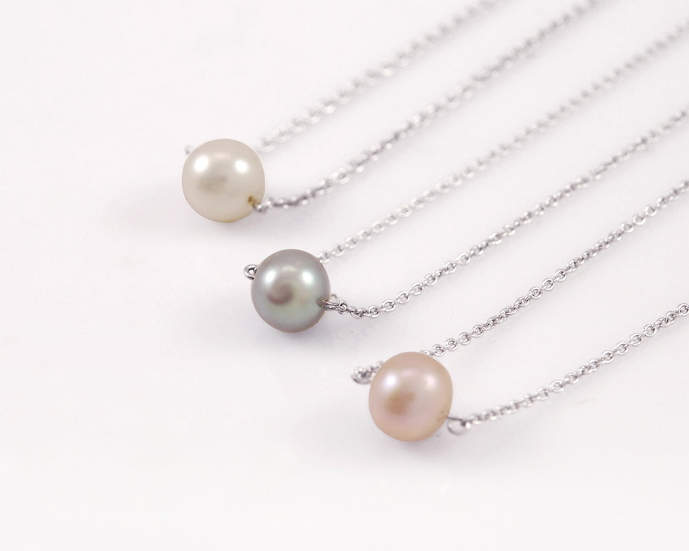 Single Little Grey Pearl Necklace