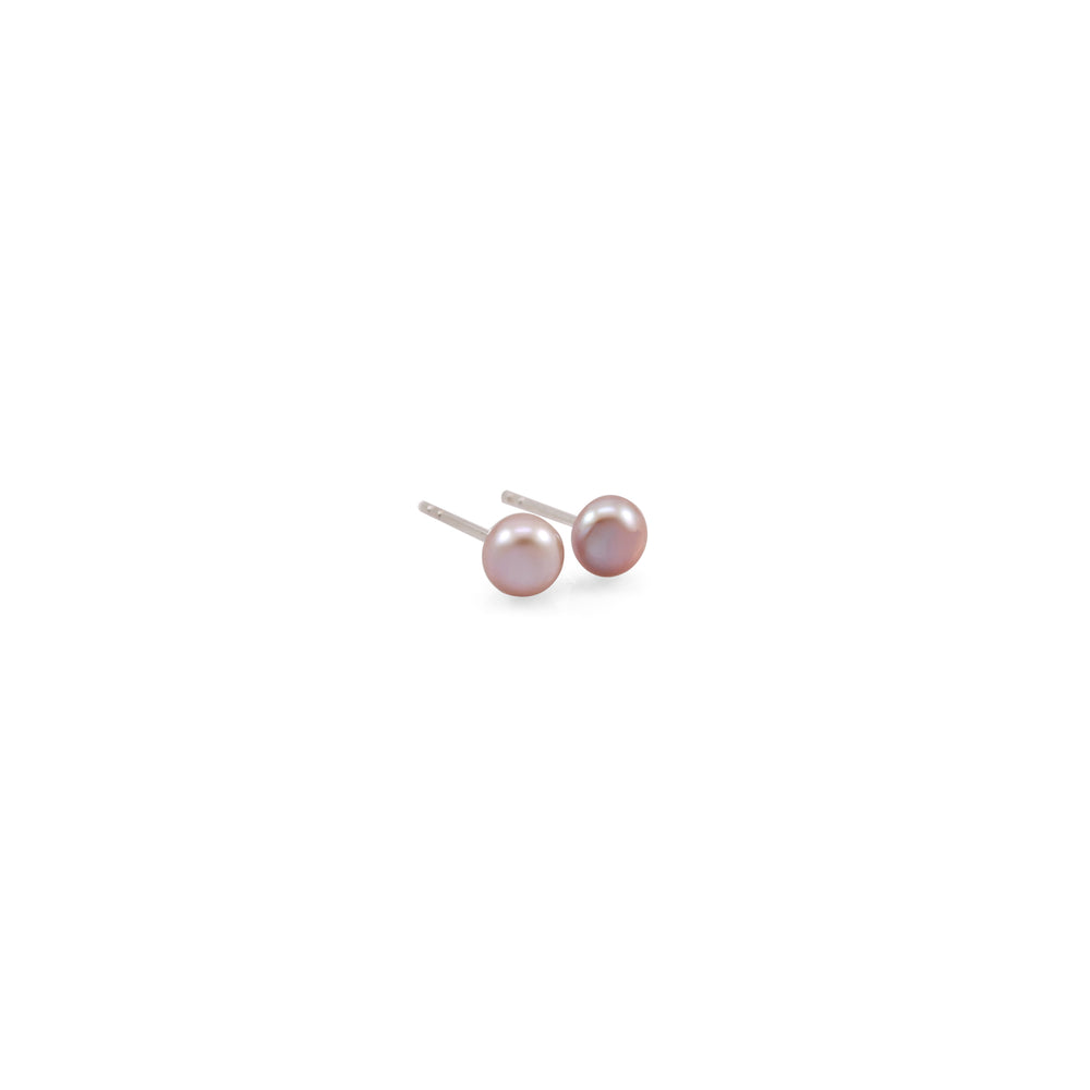 Mini Single Lavender Pearl Stud Earrings