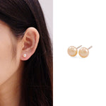 Mini Single Peach Pearl Stud Earrings