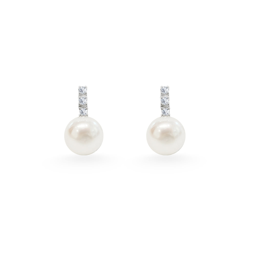 Tiny Diamond Pearl Earrings