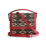 Black Red Diamond Water Sedge and Leather Mini Handbag