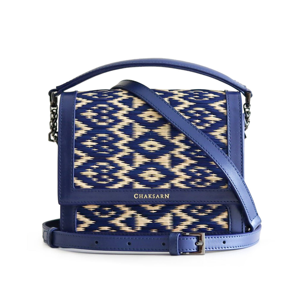 Blue Heart Water Sedge and Leather Mini Handbag