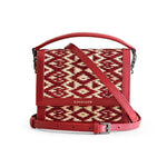 Red Heart Water Sedge and Leather Mini Handbag