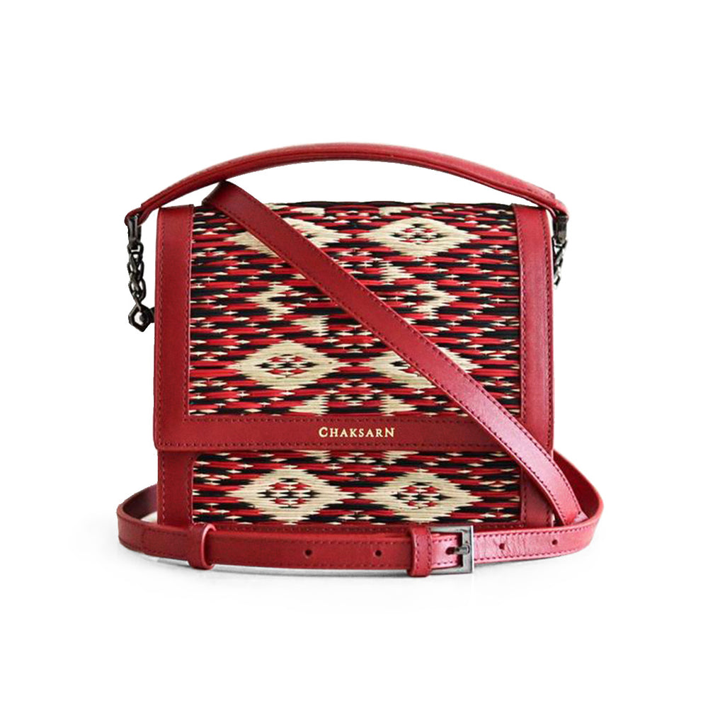 Red Water Sedge and Leather Mini Handbag
