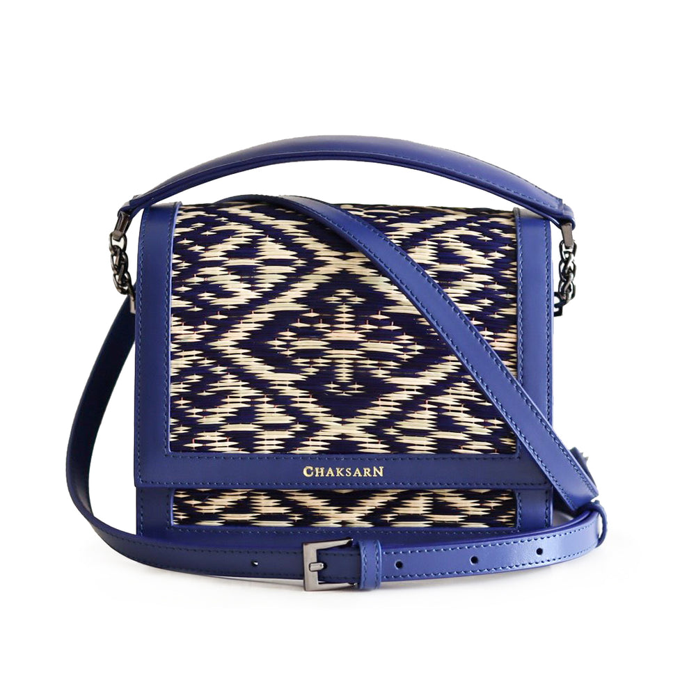Blue Water Sedge and Leather Mini Handbag