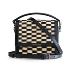 Black Chess Water Sedge and Leather Mini Handbag