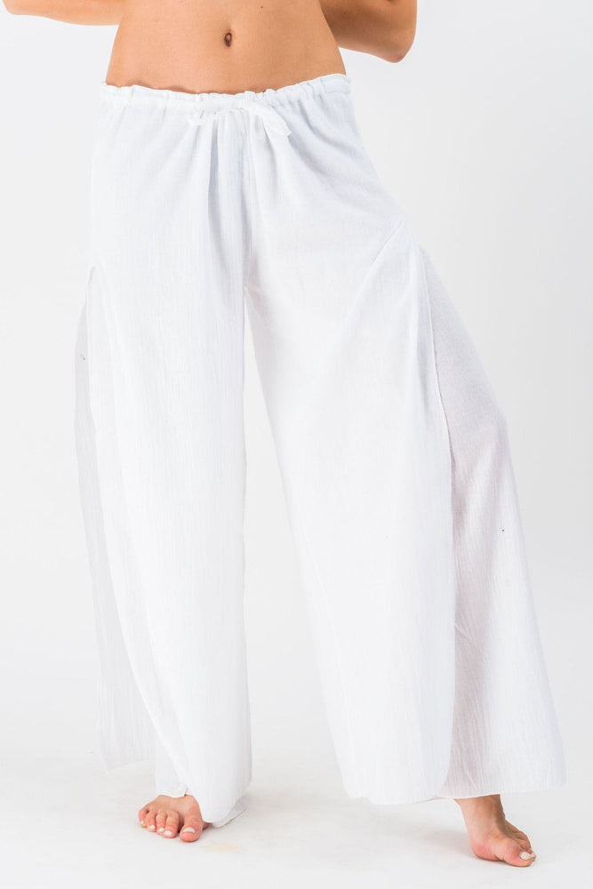 White Cotton Loose Fit Palazzo Yoga Pants