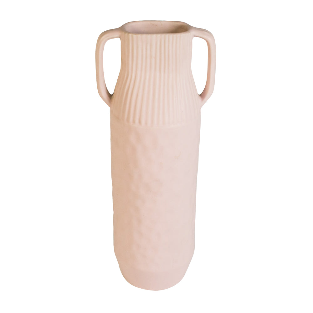 The Epoch Pink Medium Handmade Stoneware Vase With Handle travel product recommended by Sally Fox on Pretty Progressive.