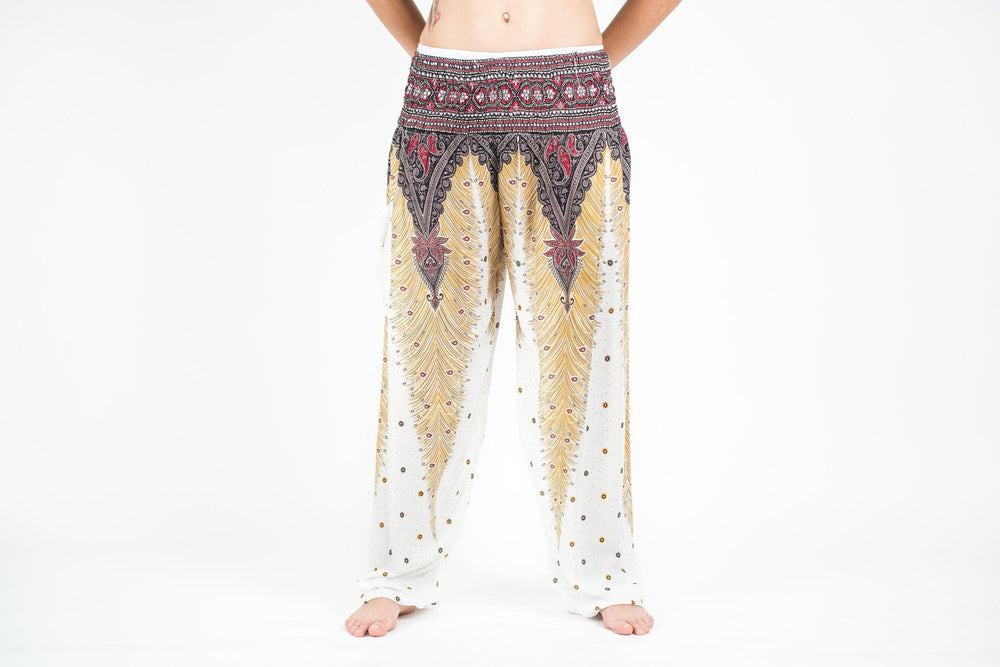 White Women's Yoga Pants with Peacock Feather Design