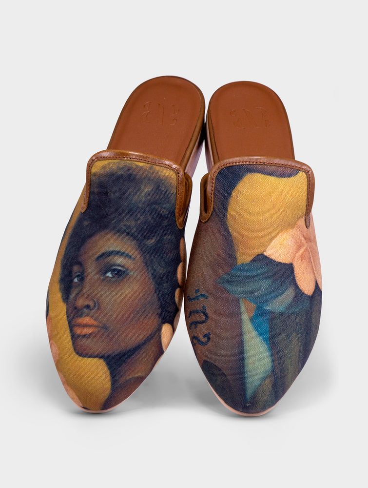 Likas Handmade Canvas Leather Slip On Mule Shoes