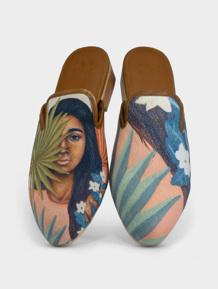 Morena Handmade Canvas Leather Slip On Mule Shoes