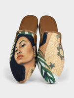Taray Handmade Canvas Leather Slip On Mule Shoes