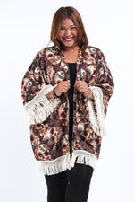 Brown Kimono Cardigan with Printed Skulls