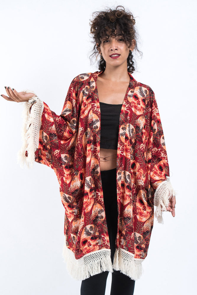 Red Kimono Cardigan with Printed Skulls