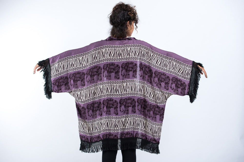 Violet Kimono Cardigan with Printed Elephants