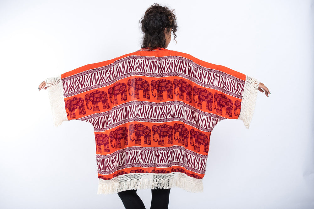 Orange Kimono Cardigan with Printed Elephants