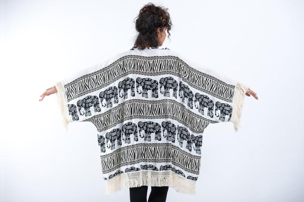 White Kimono Cardigan with Printed Elephants