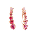 Rose Gold Plated Silver Earrings with Swarovski Hearts