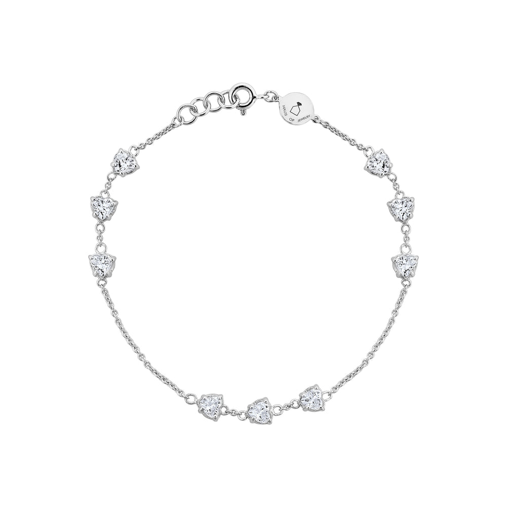 Amour White Gold Plated Silver Bracelet with Cubic Zirconia