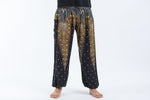 Black Women's Yoga Pants with Peacock Feather Design