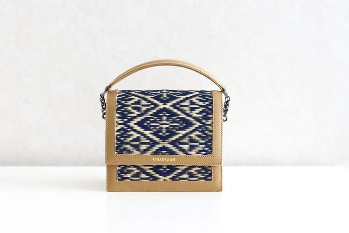 Beige Blue Water Sedge and Leather Mini Handbag