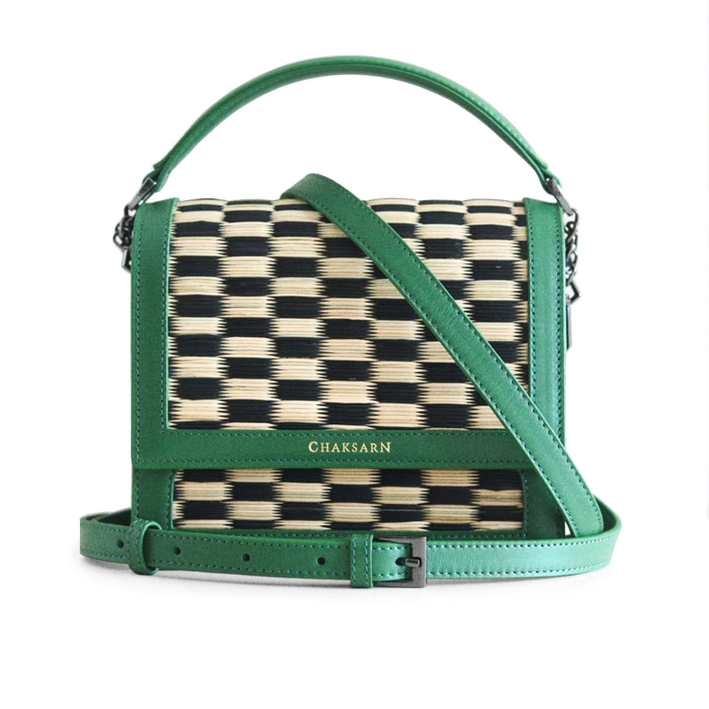 Green Black Chess Water Sedge and Leather Mini Handbag