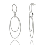 Double Circle Silver Hoop Earrings