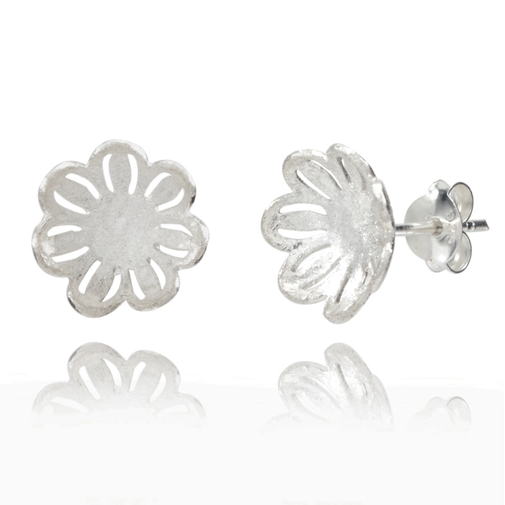 Filigree Flower Silver Stud Earrings