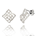 Filigree Diamond Shape Silver Stud Earrings