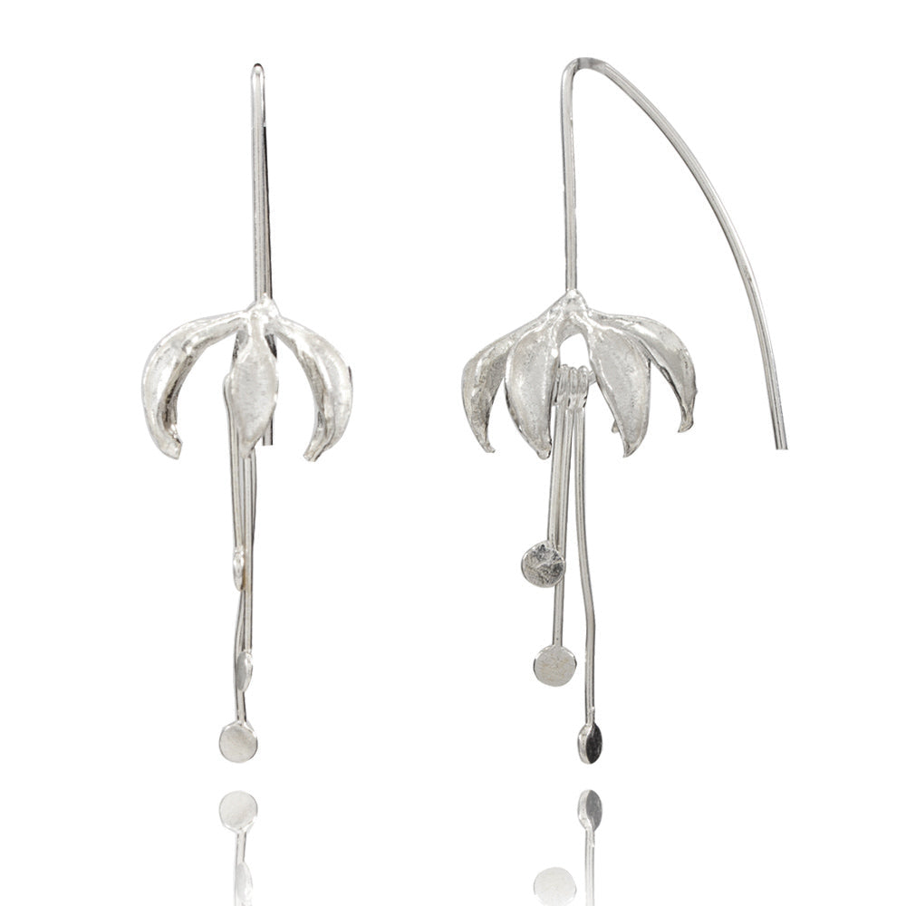 Orchid Large Silver Earrings