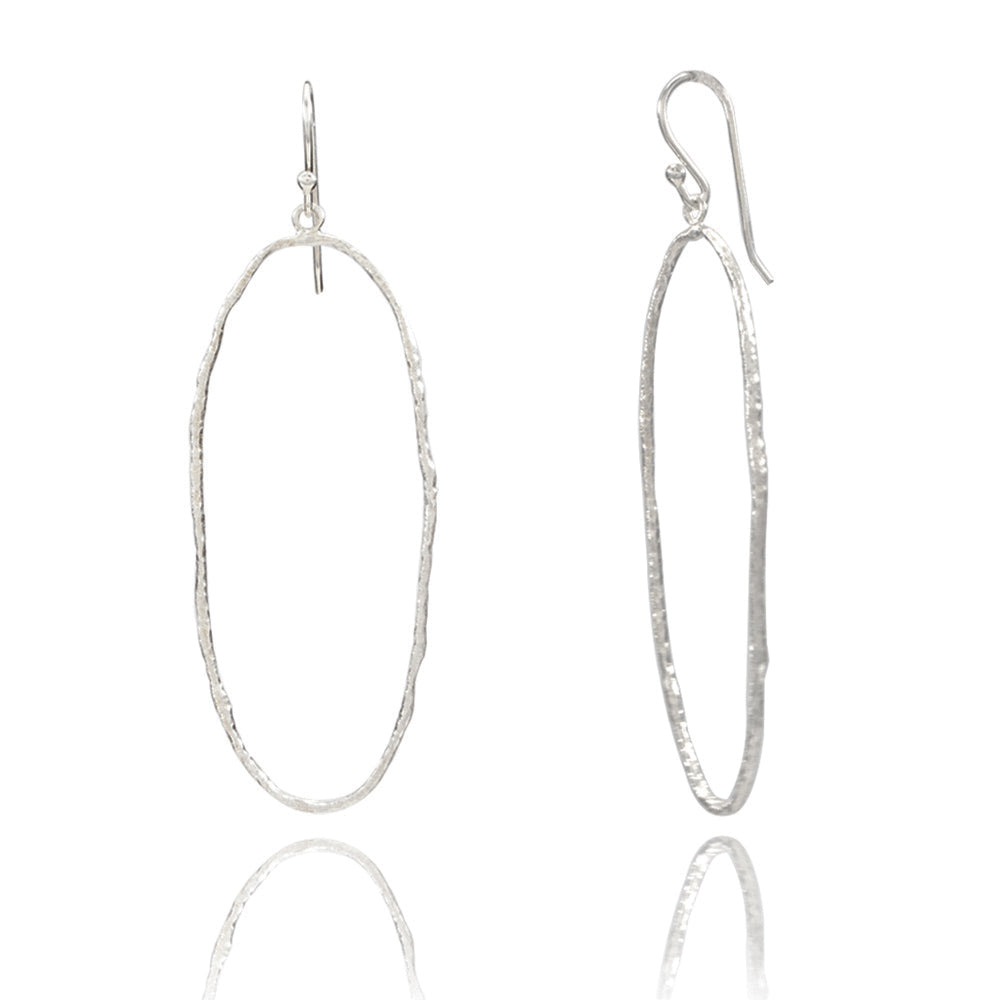 Single Circle Silver Hoop Earrings