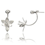 Cherry Blossom Silver Jacket Earrings