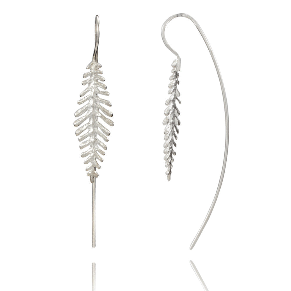 Fern Leaf Silver Earrings