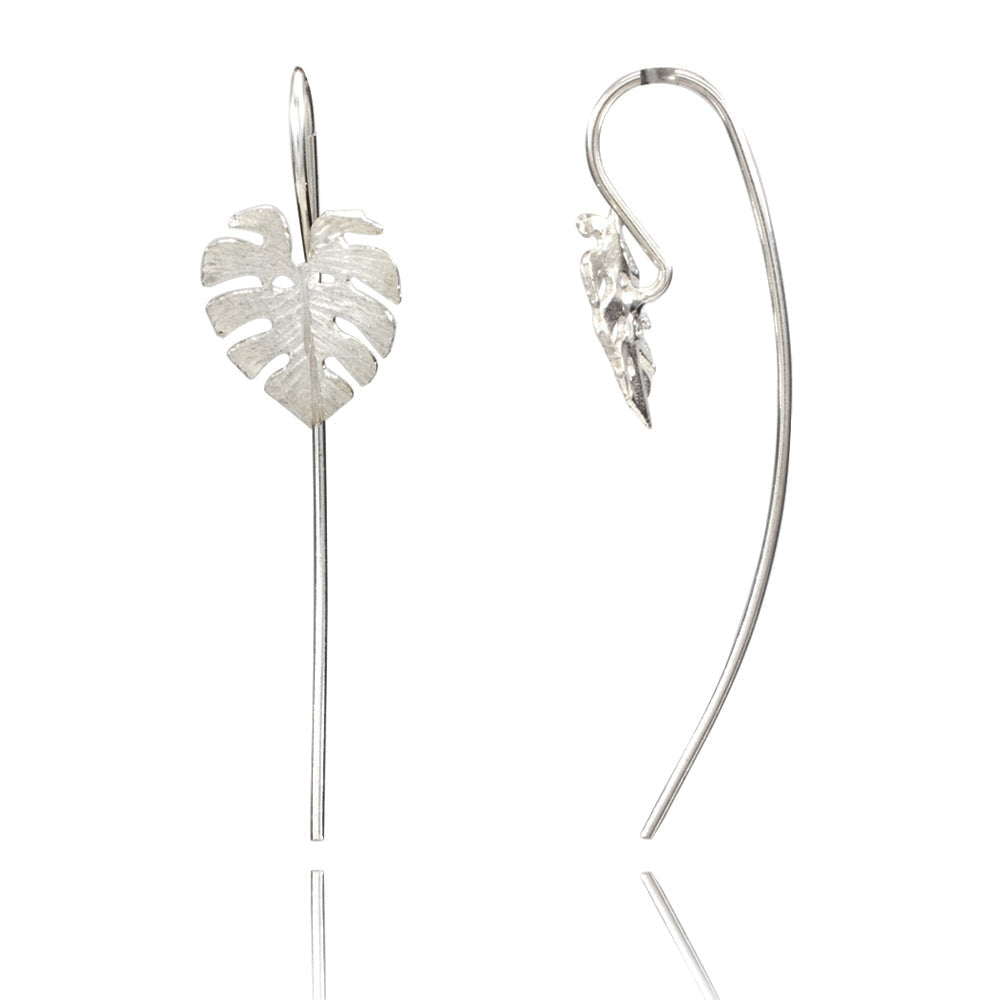 Sacred Fig Leaf Silver Earrings