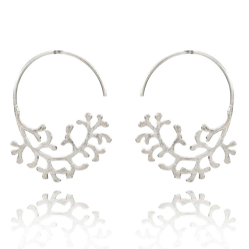 Filigree Coral Pattern Silver Earrings