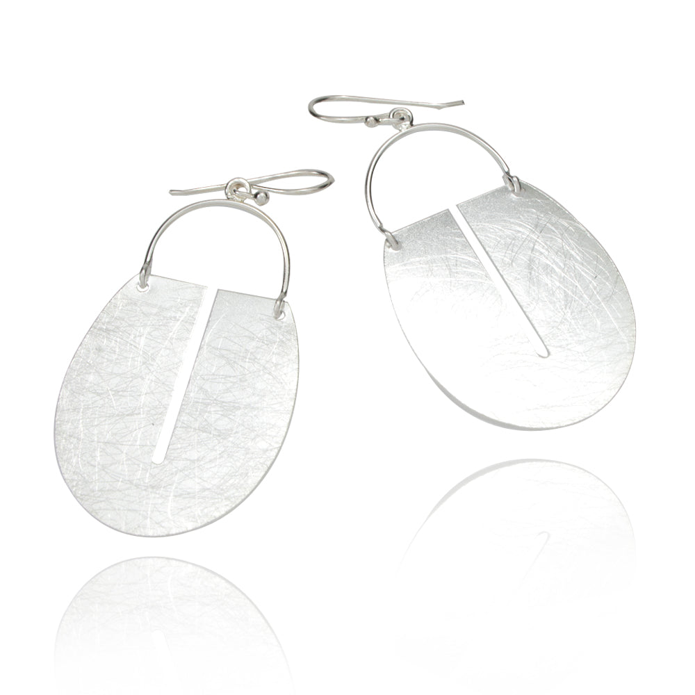 Asymmetric Oval of Simplicity Silver Earrings