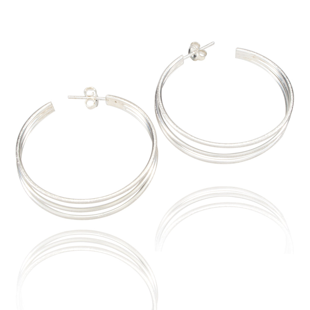 Hammered Threads Silver Hoop Earrings