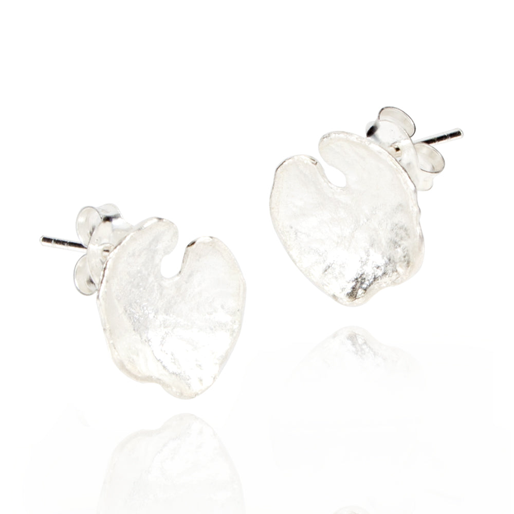 Hammered Leaf Silver Stud Earrings
