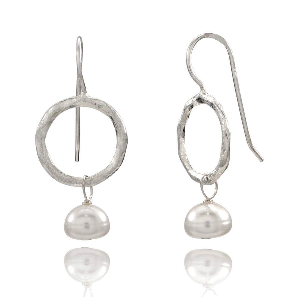 Single Hoop Silver Earrings with Freshwater Pearl